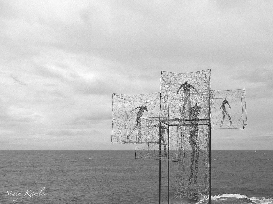"""Listen Time Passes"" by Barbara Licha, Sculpture by the Sea, Bondi Beach, Australia"