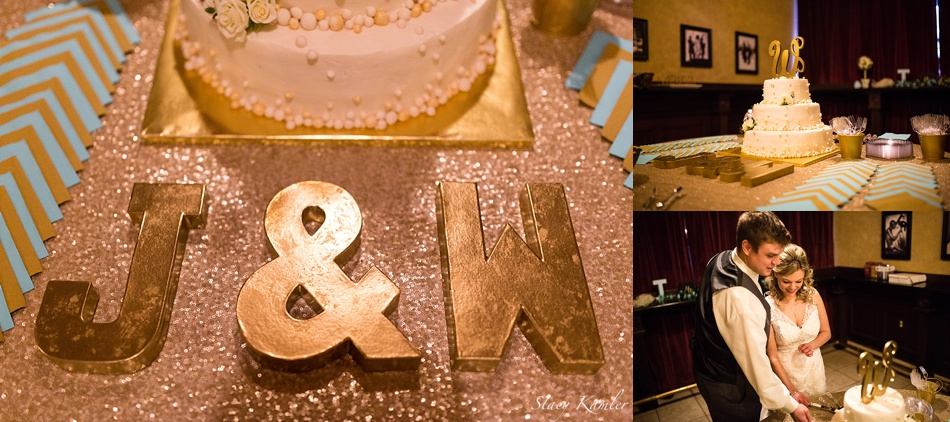 Cake Cutting with Rose Gold Sequins Table Cloth and Teal napkins