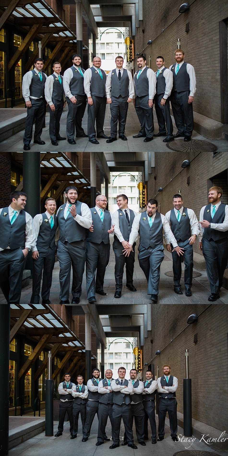 Groomsmen portraits in alley in Downtown, Lincoln, NE