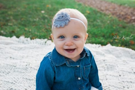 One year old with flower headband