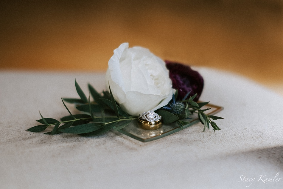 Diamond Ring with White Flower