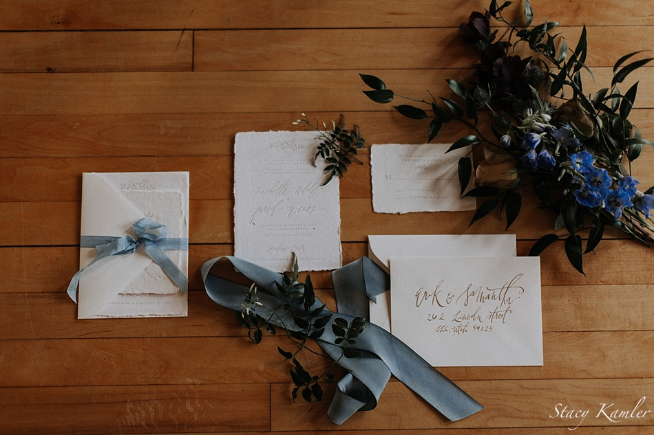 Foil and Ink Invitations for Styled Shoot in Utah
