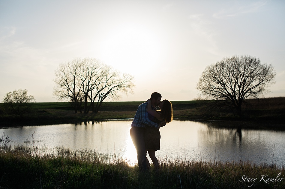 Silhouette by family pond