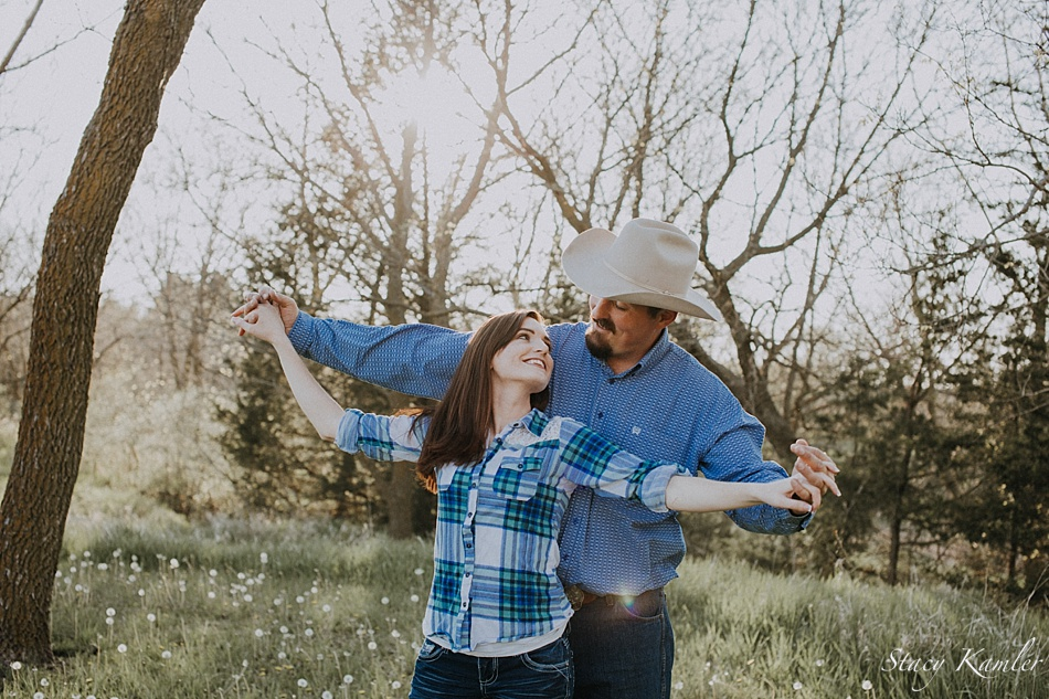 Blue Plaid shirts for Engagement Photos at Golden Hour
