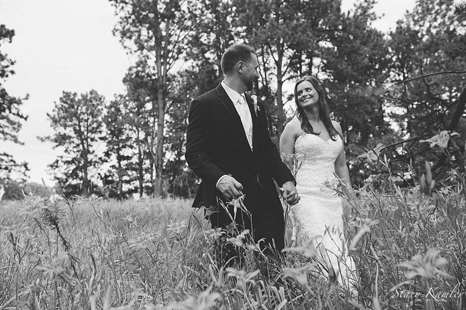 Bride and Groom portraits in tall grass