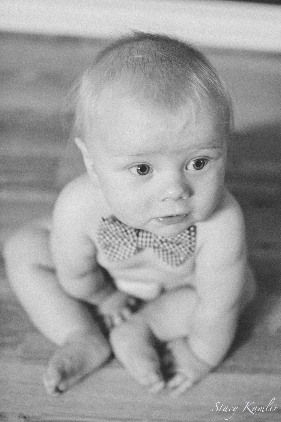 boy in bowtie for 6 month photos