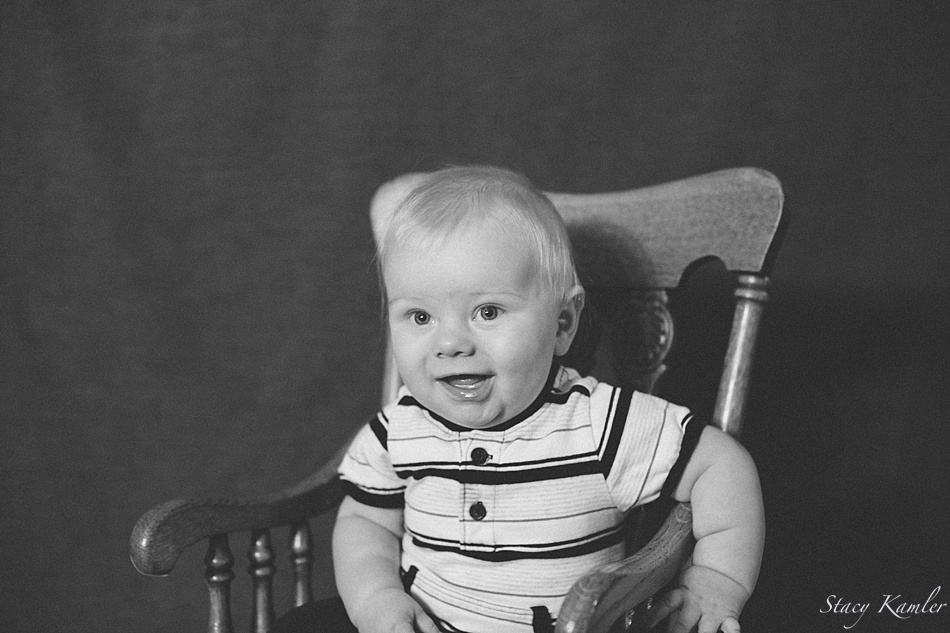 black and white 6 month old photo