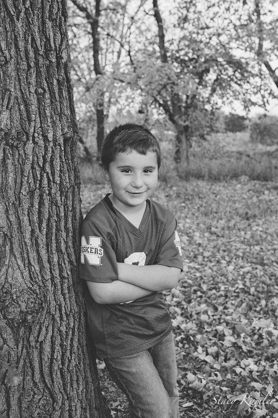Little boy portrait at park in the fall