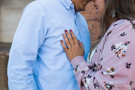Ring shot with floral jacket - Nebraska Engagement Photographer
