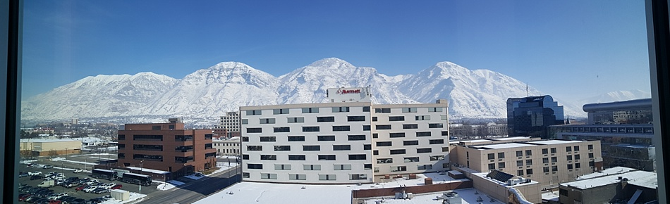 View outside our hotel at Provo