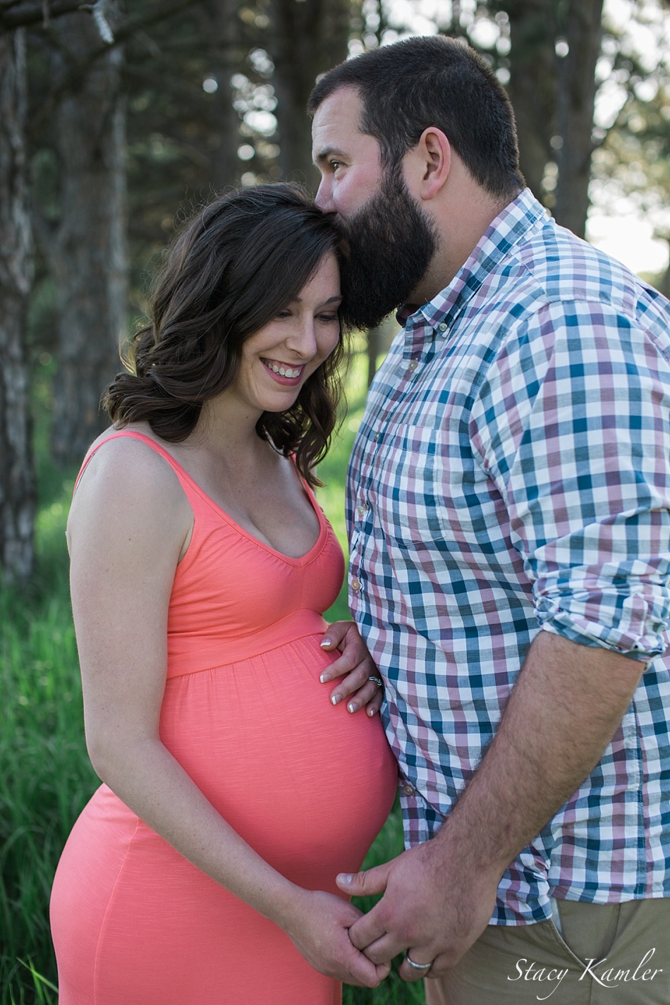 Maternity Photos in Pink Sundress in Park