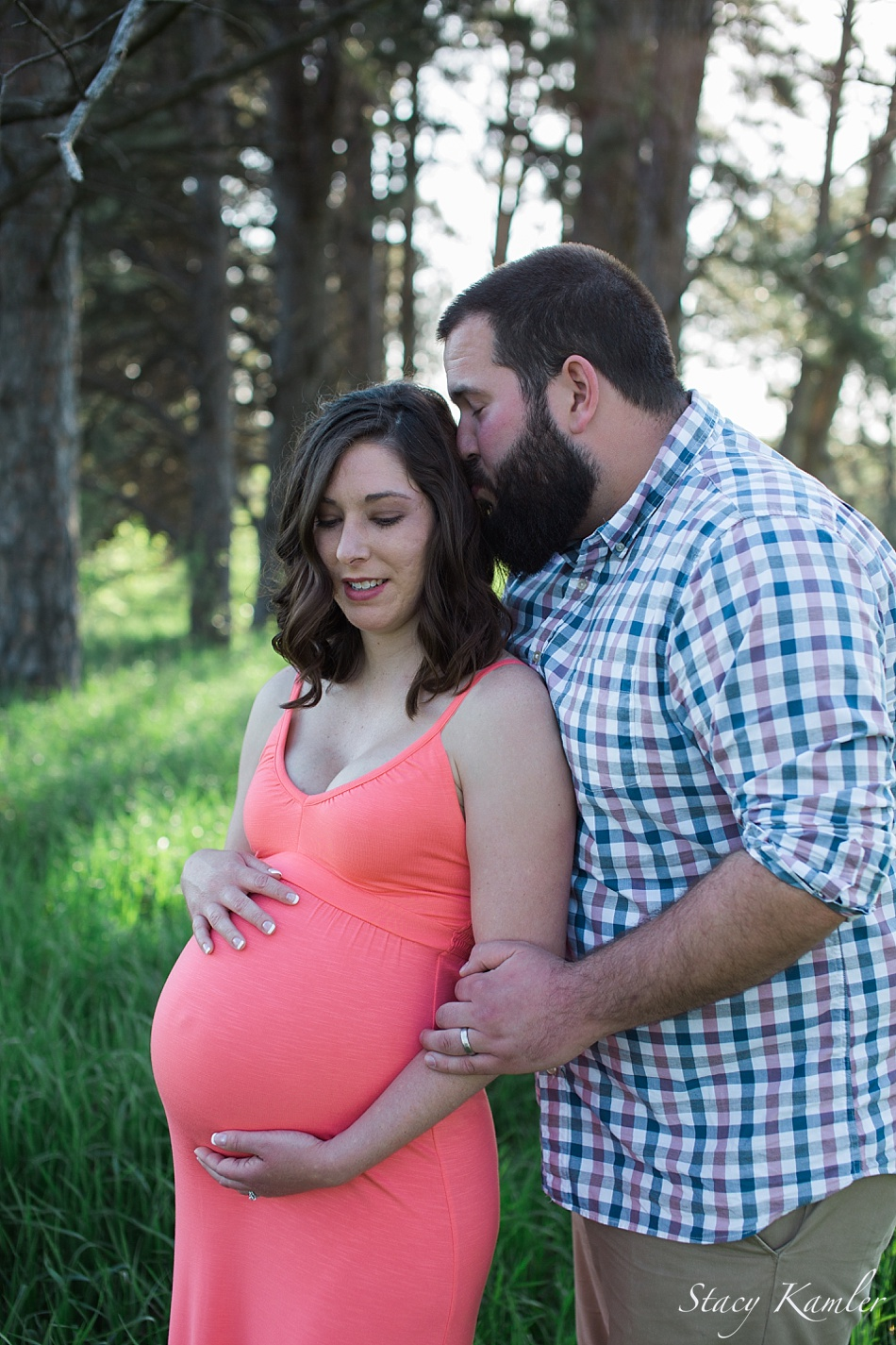 Maternity photos in pink sundress