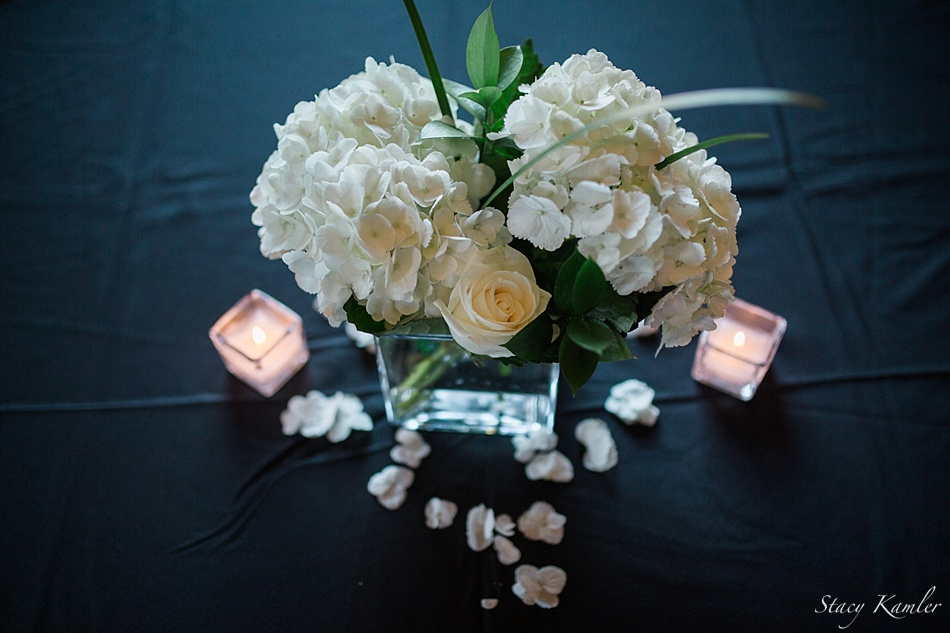 Centerpieces of white roses