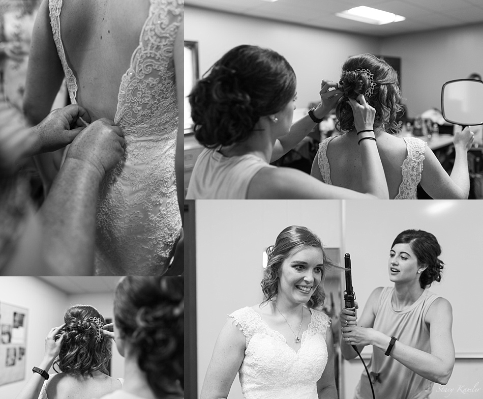 Bride getting ready in Geneva, Ne