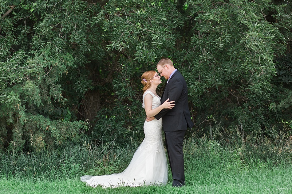 Bride and Groom Portraits in front of Trees