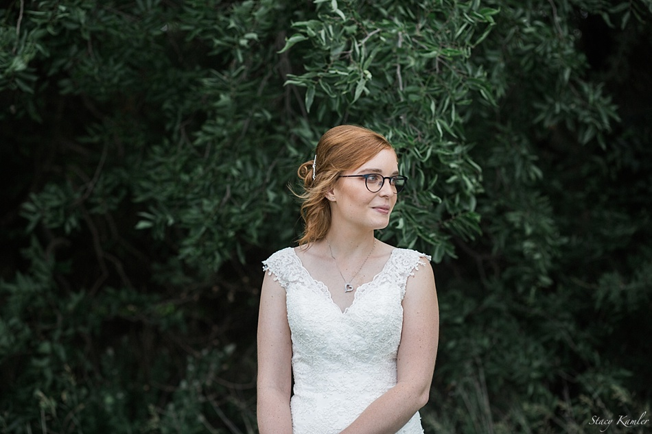 Bridal Portraits in a lace strapped wedding dress