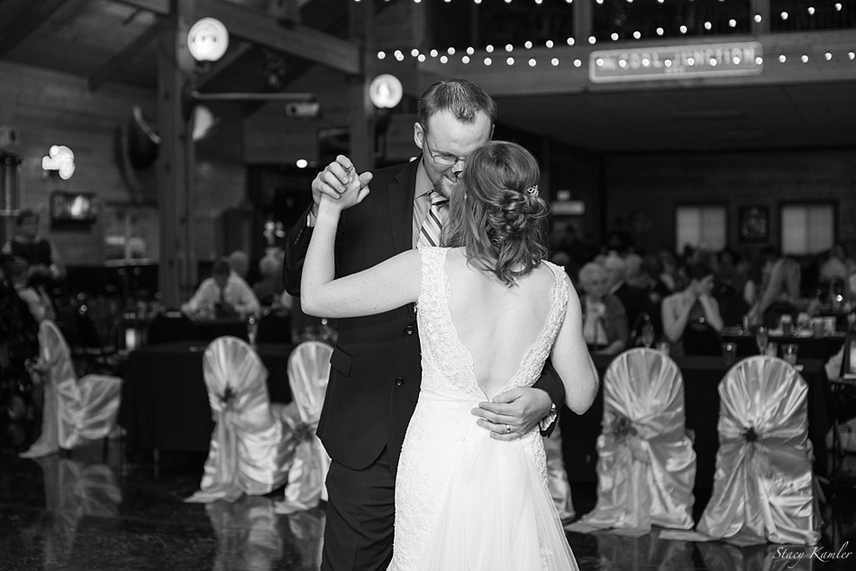 Bride and Groom First Dance. Low Back Lace Dress