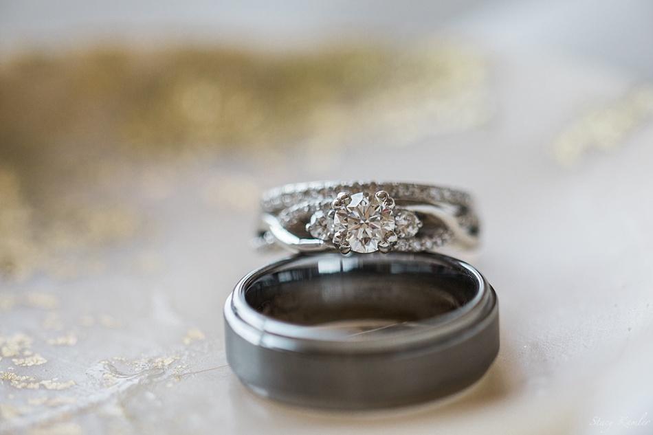 Bride's Diamond Ring and Groom's Granite Band