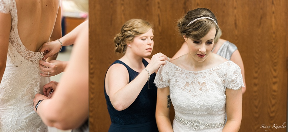 Bride getting her Maggie Sottero Dress on
