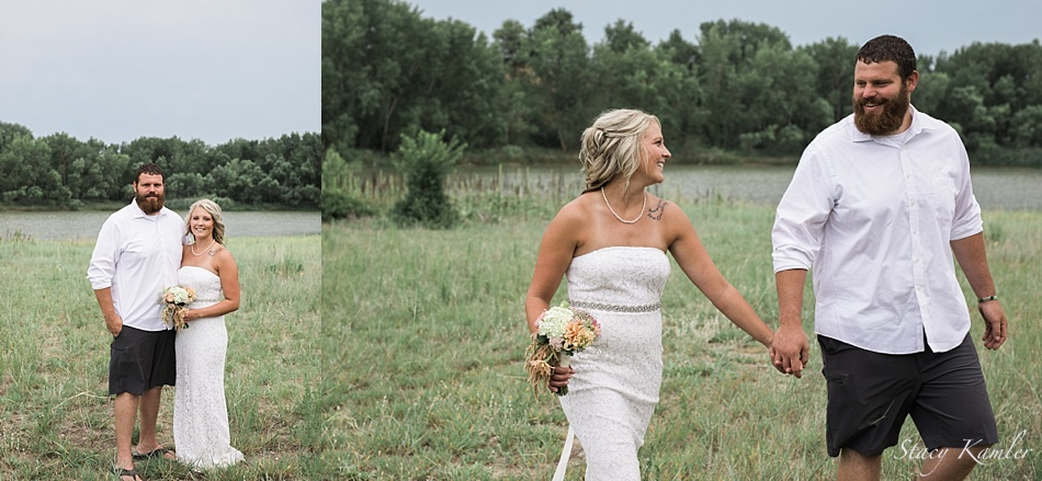Bride and Groom Portraits by a lake