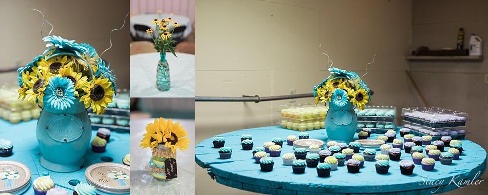 Teal and Yellow Cupcakes