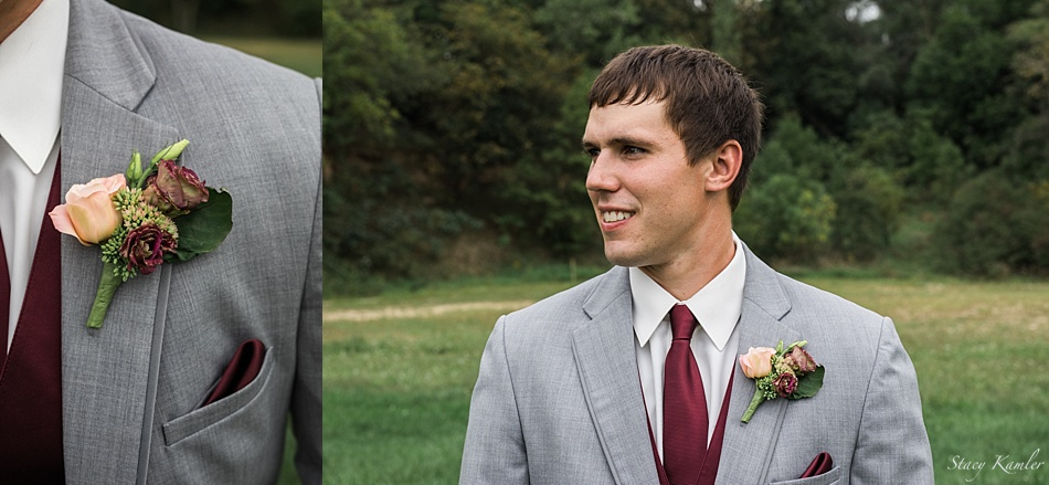 Groom in Grey tux with burgundy vest