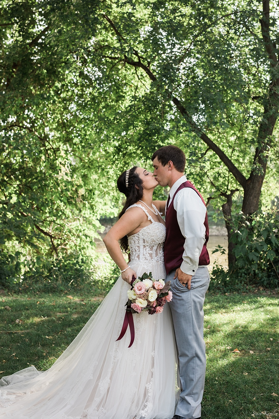 Bride and Groom Portraits at Riverwest Park, Elkhorn, NE