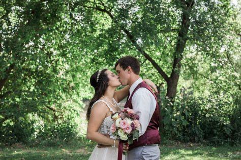 Bride and Groom Portraits at Riverwest Park, Elkhorn, NE