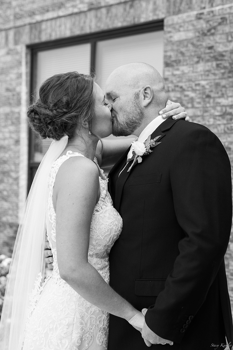 Bride and Groom Portraits in Black and White in Kearney, NE