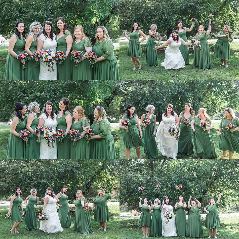 Bridesmaids photos in Olive Green Dresses