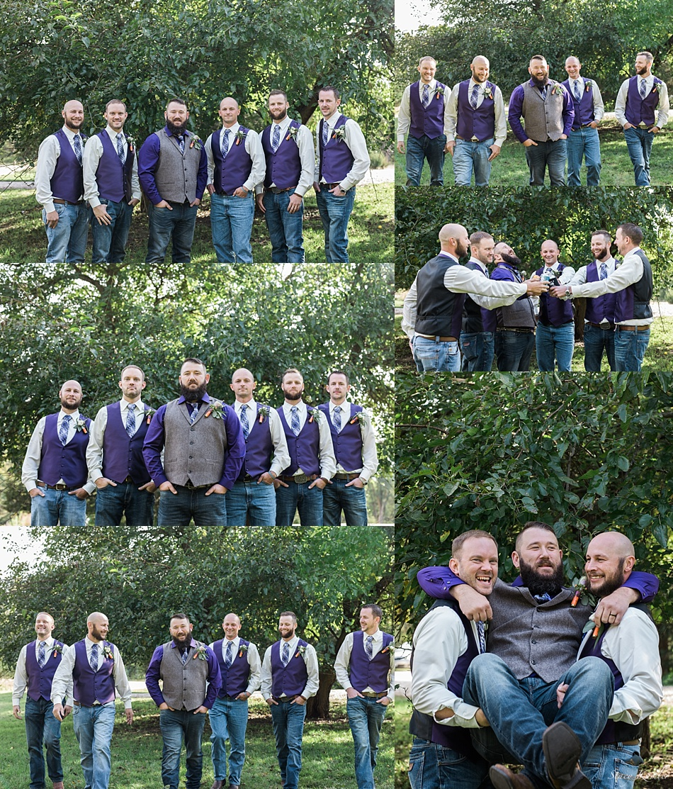 Groomsmen in Purple Vests