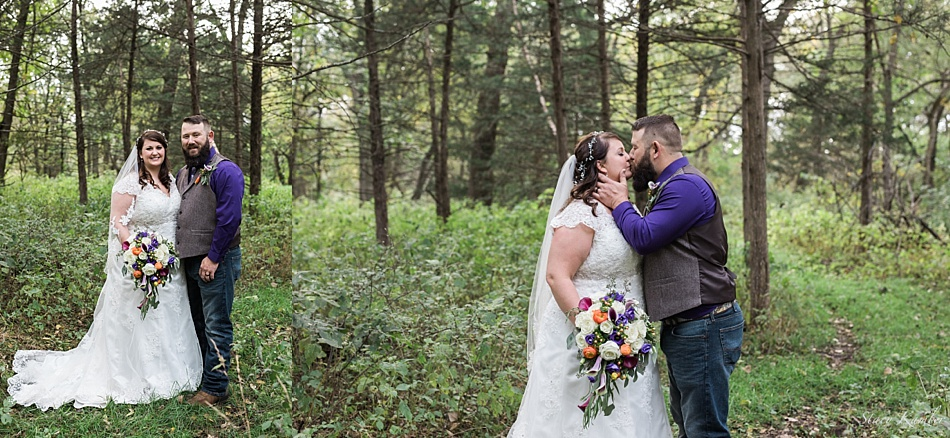bride and groom portraits in the woods at Gunsmoke Lodge
