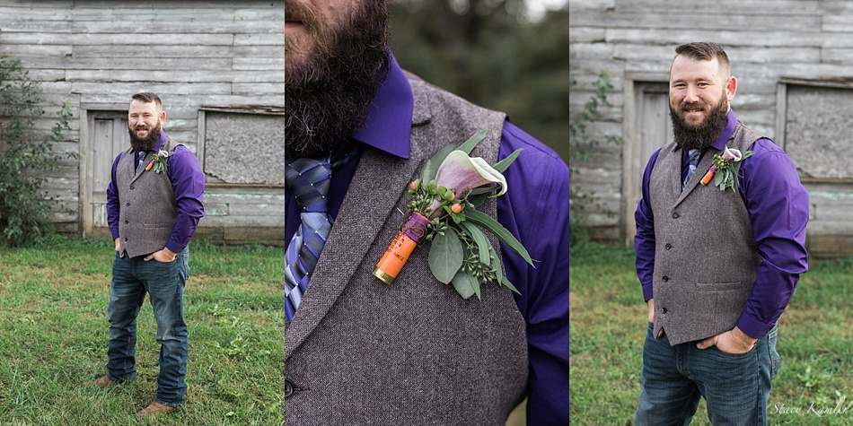 Groom portraits with purple shirt and tweed vest