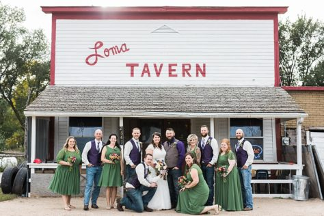 Bridal party in front of the Loma Tavern