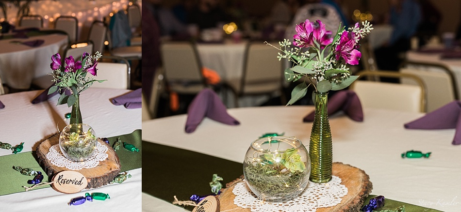 Table Centerpieces wth vases and purple flowers