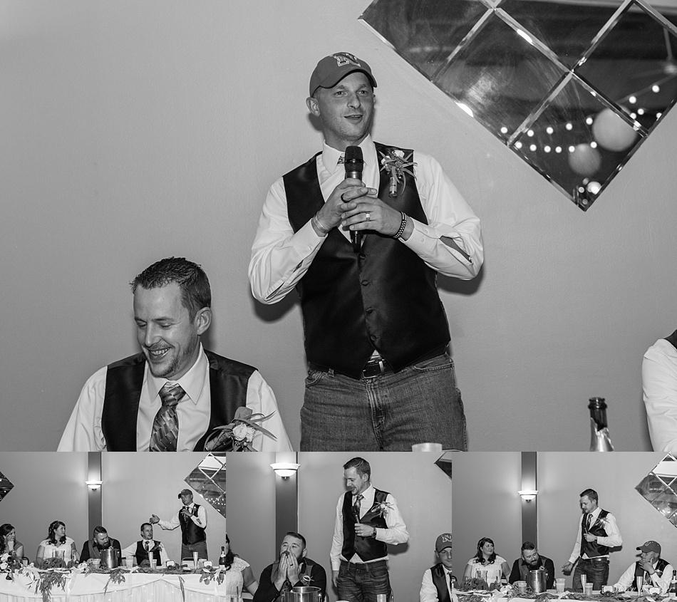 Toasts from groomsmen at wedding in Nebraska