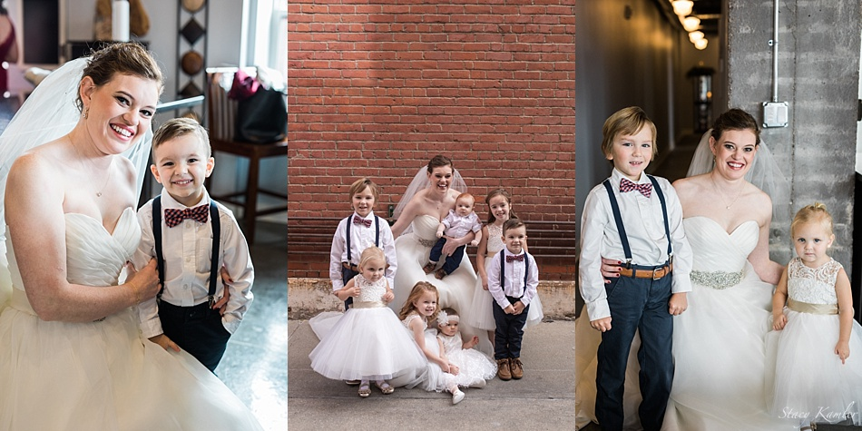 Bride and her nieces and nephews on wedding day