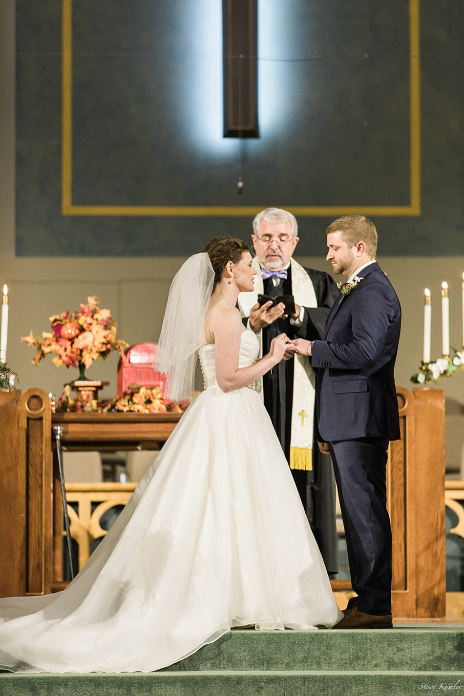 Exchanging rings during ceremony