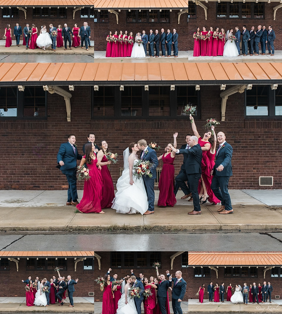 Bridal Party under awning in Grand Island, NE