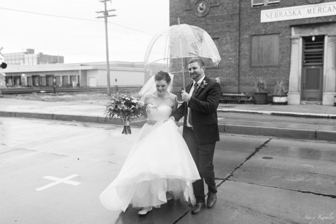Rainy wedding day portraits in Grand Island, NE