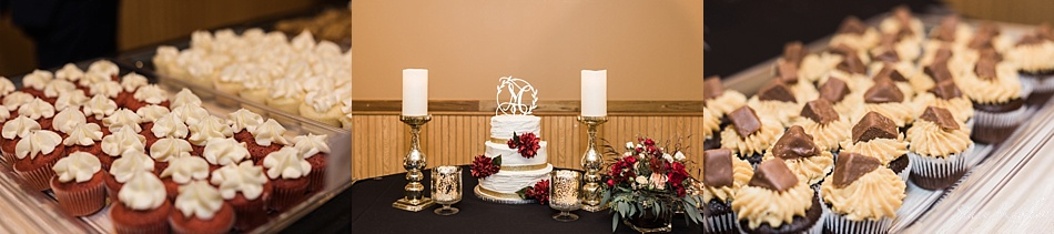 Cake and cupcakes at wedding reception
