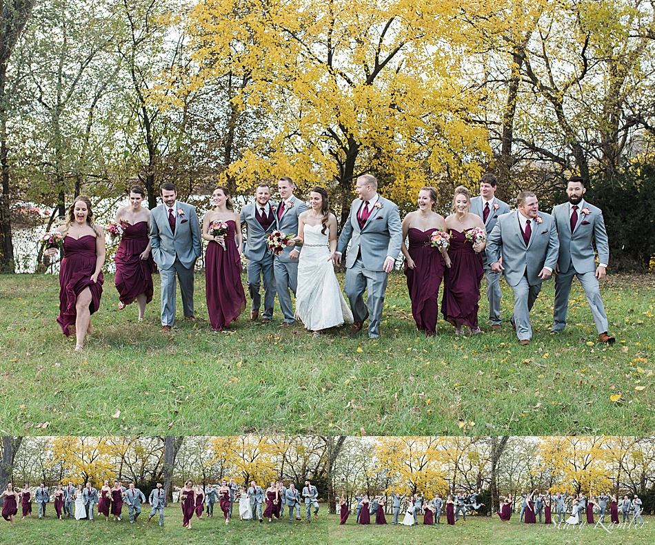 Bridal Party in the fall in Nebraska