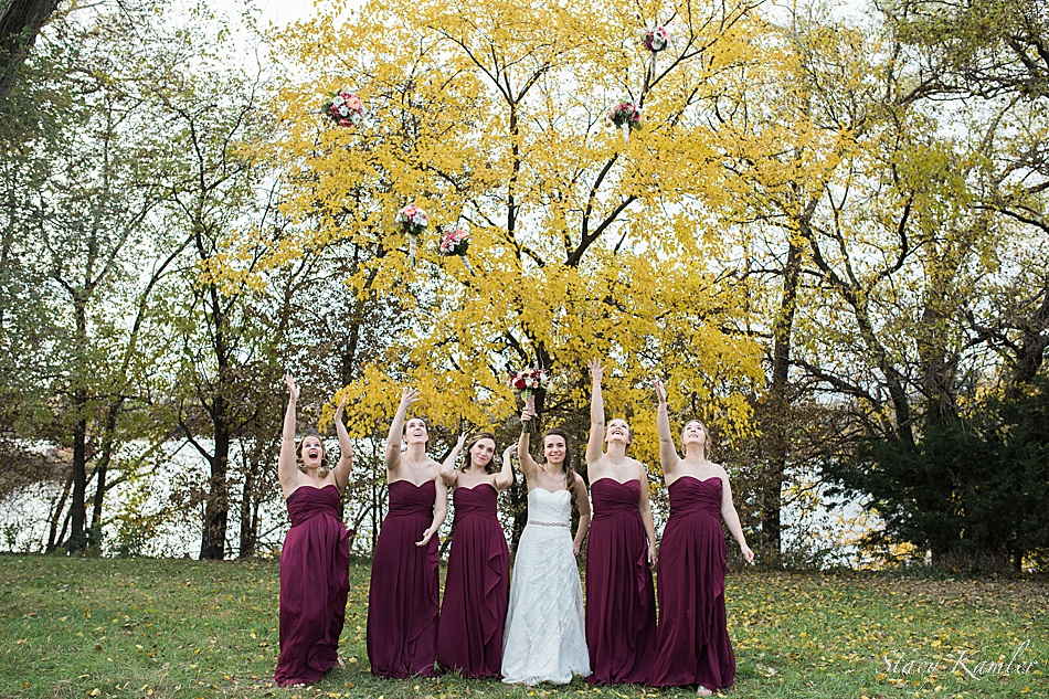 Bridesmaids throwing up their flowers