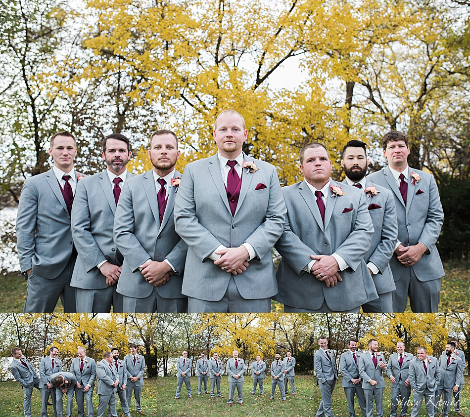 Groomsmen photos at the Fremont lakes in nebraska
