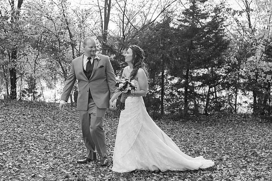 Bridal Portraits with leaves on the ground