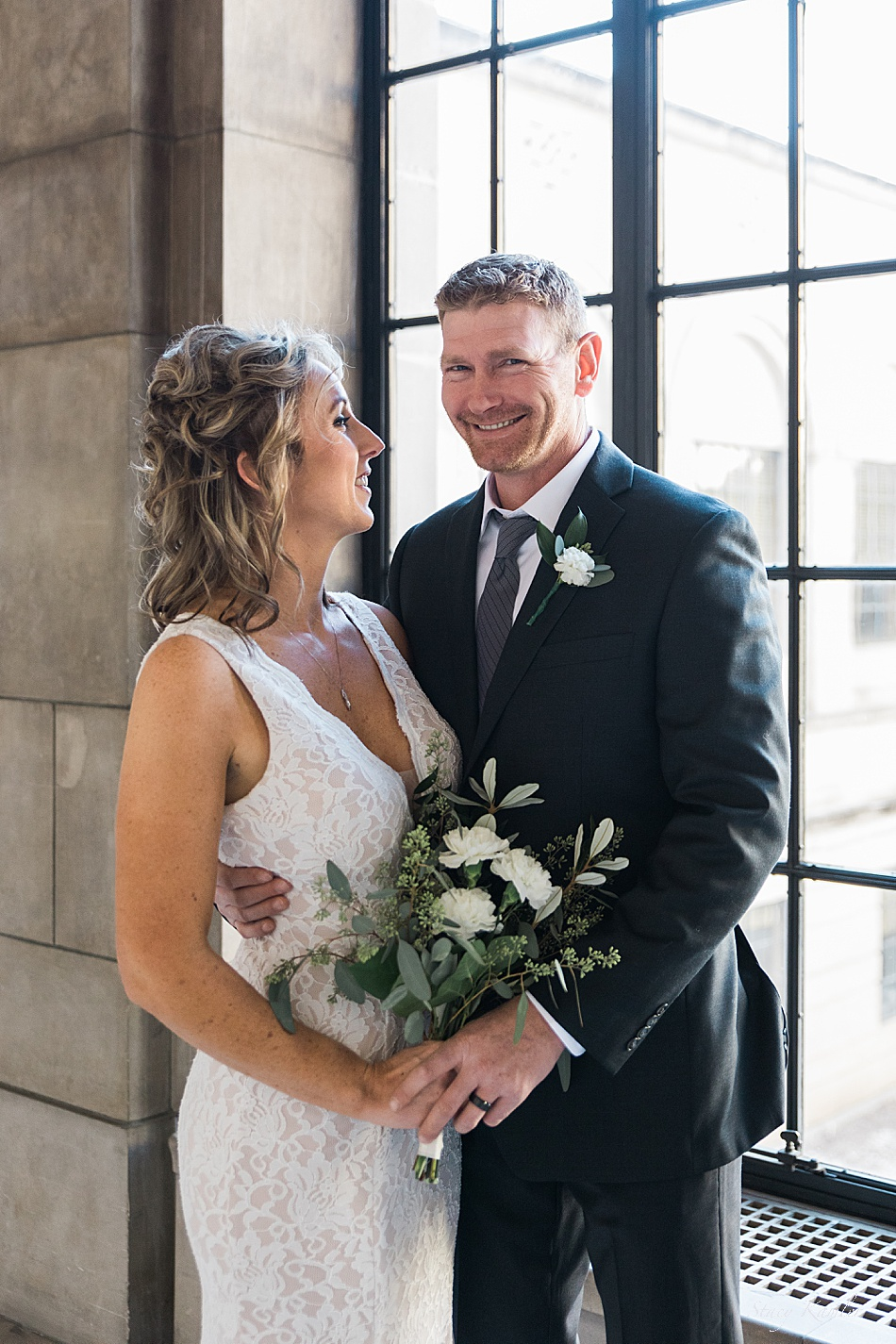 Bride and Groom photos after an intimate wedding at the state capitol