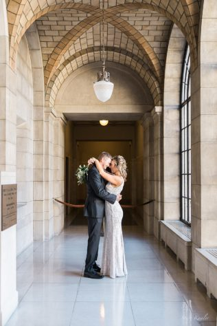 Bride and Groom photos after an intimate winter wedding at the state capitol