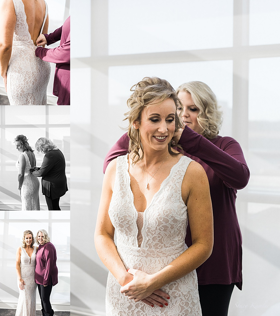 Bride getting dress for her wedding day