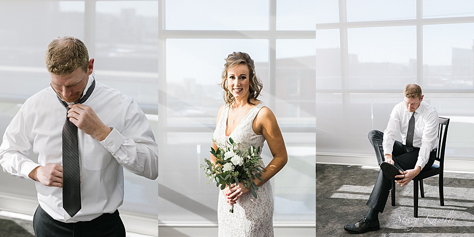 Bride and Groom Portraits and Getting Ready in Loft