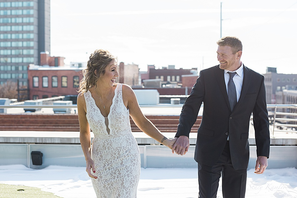 First Look between Bride and Groom in Lincoln, NE